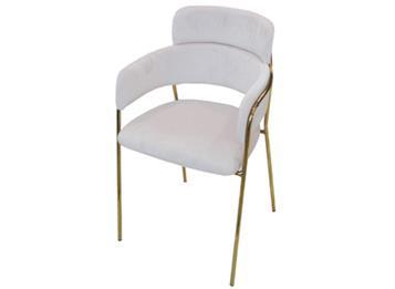 北欧轻奢风铁艺西餐厅椅子_现代简约不锈钢电镀