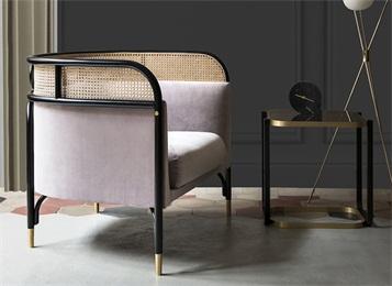 现代西餐厅休闲会所茶楼中式实木休闲藤编椅子