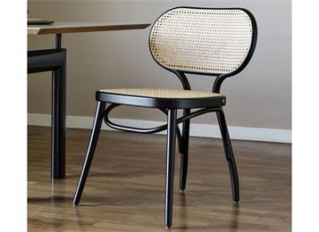 西餐厅咖啡厅现代创意休闲实木靠背藤编椅