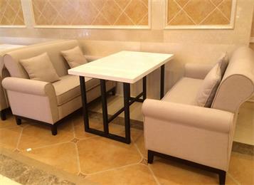 西餐厅双人休闲布艺维也纳酒店沙发桌椅组合