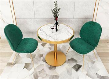 北欧轻奢风西餐厅家具大理石餐桌_高档餐厅桌椅