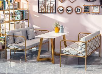 轻奢不锈钢大理石西餐桌