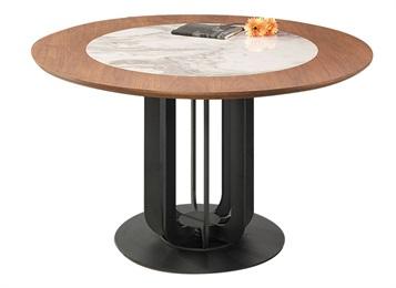 西餐厅新中式实木封边大理石圆桌