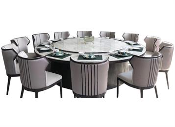 酒楼大理石带转盘餐桌圆桌家具定做