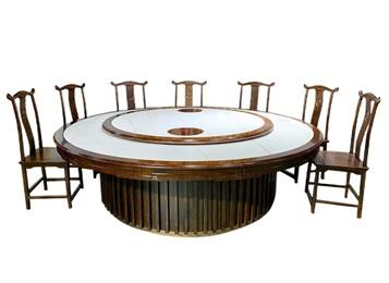 高级饭店中式古典实木自动转盘火锅桌