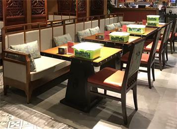 中餐厅全实木桌椅定做酒楼湘菜馆高档实木卡座