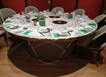 酒店包房12人的新式火锅大圆桌一人一锅小火锅桌