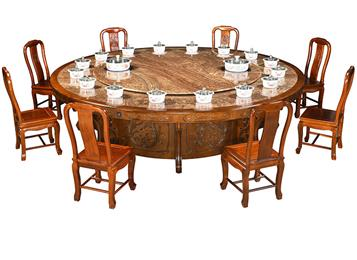 一人一锅大理石桌面圆形电动实木火锅桌