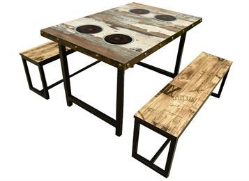 复古工业风一人一锅实木电磁炉火锅桌