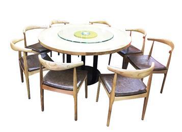 钱柜娱乐官方网站【首页】_简约时尚中餐厅圆桌  实木桌面玻璃转盘桌子