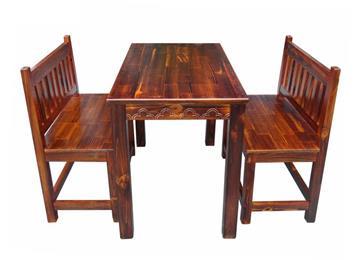 实木八仙桌椅组合 碳化