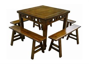 碳化仿古餐厅餐桌椅组合