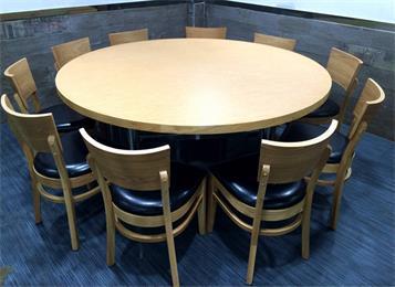 连锁中餐厅防火板圆形餐桌_湘菜馆包间实木餐桌