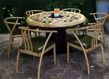 中餐厅桌椅实木时尚花纹湘菜馆餐桌椅
