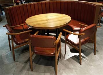 特色酒楼中餐厅桌椅_饭店湘菜馆包厢圆形实木桌