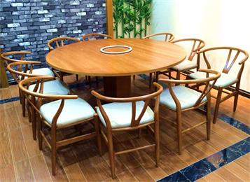 湘菜馆实木餐桌椅_主题餐厅包房圆形餐桌