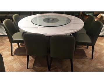 中餐厅酒楼会所包房8人位大理石圆形桌椅