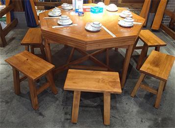餐饮饭店茶楼中式仿古原木桌椅凳子