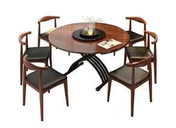 主题餐厅伸缩折叠圆形饭