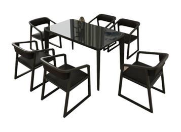 钱柜娱乐官方网站【首页】_水曲柳实木餐桌椅组合 黑胡桃木色主题餐厅桌子