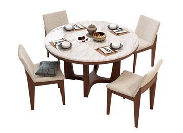 钱柜娱乐网站_北欧圆形餐桌椅组合 主题餐厅大理石桌子