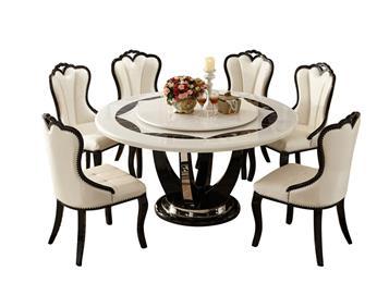主题餐厅欧式大理石圆桌