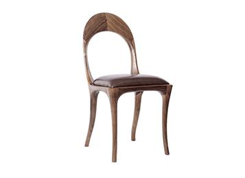 北美黑胡桃木餐椅 主题餐厅实木靠背椅子