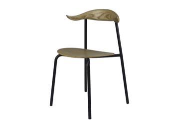 现代简约实木牛角椅 主题餐厅扶手休闲椅子