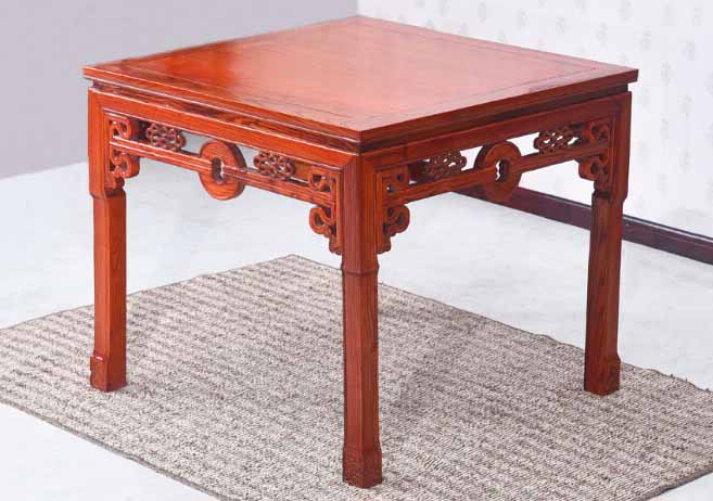 仿古中式实木榆木铜钱八仙餐桌