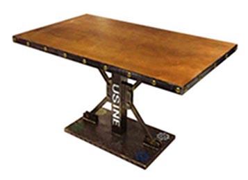 loft工业风复古做旧实木台面餐桌