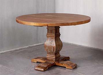 美式乡村复古全实木做旧大圆餐桌
