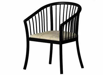 新中式黑色钢琴漆实木圈椅