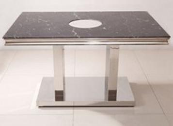 大理石台面不锈钢桌脚火锅桌子
