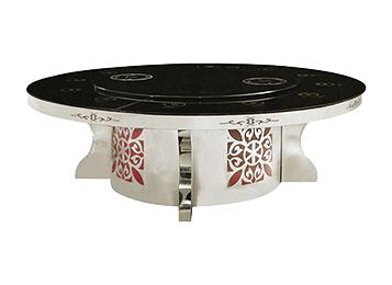 大理石圆形不锈钢电动火锅桌