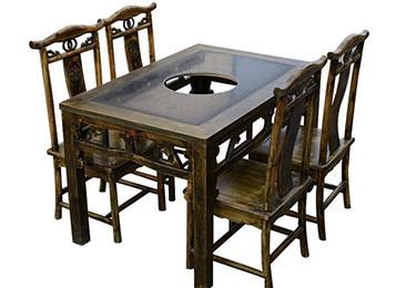明清复古雕花实木火锅桌椅组合