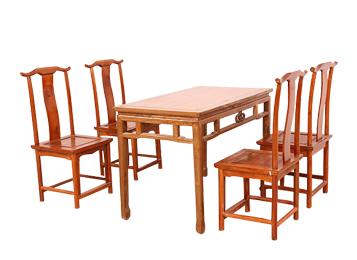 古典中式餐桌椅组合 明清复古榆木餐桌椅组合