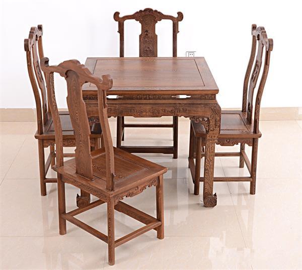 钱柜娱乐官方网站【首页】_鸡翅木清式雕花四方餐桌 仿古实木八仙桌组合中式饭桌