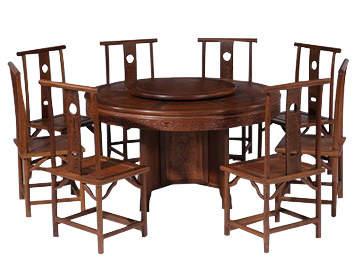 明清中式带转盘圆餐桌 仿古圆饭桌椅组合