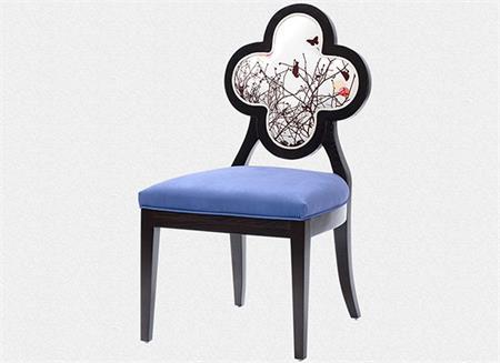新中式实木布艺四叶草餐椅