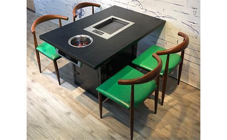 深圳订做自助无烟烧烤桌大理石电磁炉火锅桌价格--海德利家具
