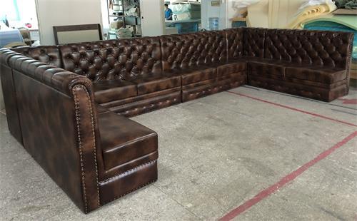 酒吧卡座沙发定做都喜欢用的真皮卡座沙发--海德利家具