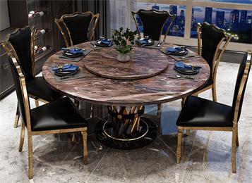 不锈钢大理石餐桌现代简约