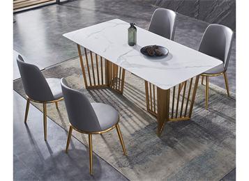 现代极简长方形大理石餐桌