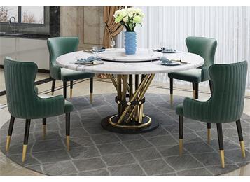 现代圆形大理石餐桌带转盘