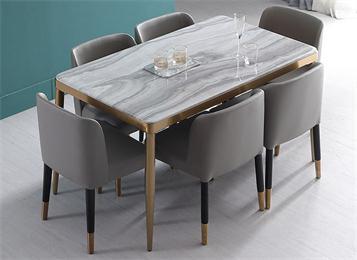 现代简约不锈钢封边大理石餐桌