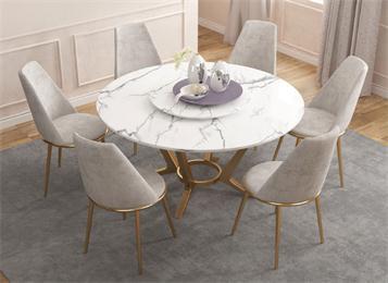 现代圆形轻奢不锈钢大理石餐桌
