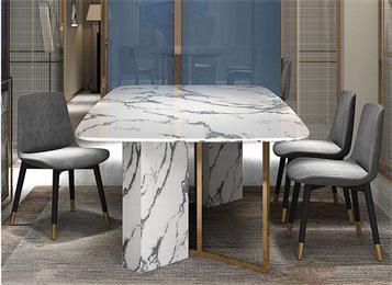 后现代意式轻奢大理石餐桌家具