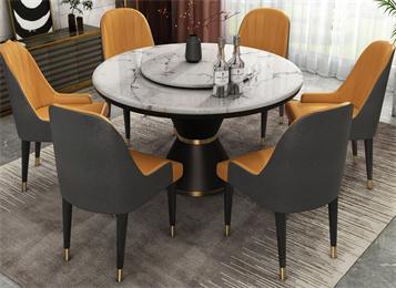 北欧风简约圆形大理石餐桌