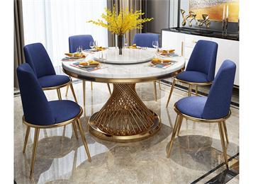 轻奢北欧现代大理石餐桌椅