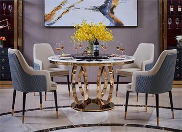 北欧风现代圆桌带转盘大理石餐桌